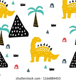 Hand drawn seamless pattern with dinosaur in the wild safari firest.