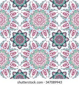 Hand drawn seamless pattern with mandalas. Endless texture can be used for wallpaper, pattern fills, web page background, surface textures.