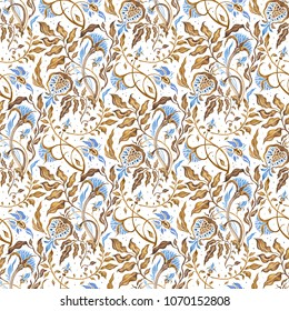 Hand Drawn seamless pattern of Modern Abstract Flowers