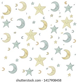 Hand drawn seamless pattern with moon and stars made with pastel colors. Use these graphics to create your own GORGEOUS items for sale or gifts!