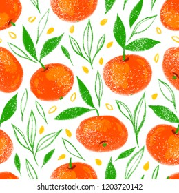 Hand drawn seamless pattern of orange fruit with texture. Food element collection. Illustration of mandarines with leaves. Floral colorful repeatable design.