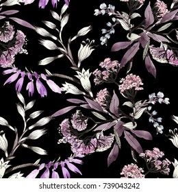Hand drawn seamless pattern with purple summer flowers on black background