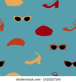 Hand drawn seamless pattern with sunglasses, shoes and berets on blue green background. Great for fabric pattern, wrapping paper, packaging, apparel design and more.