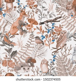 Hand drawn seamless pattern with watercolor forest animals and plants. Pattern for kids wallpaper, wood inhabitants, cute animals
