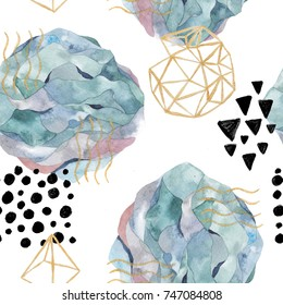 Hand drawn seamless pattern with watercolor and marble elements. Scandinavian design