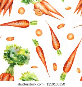 Hand drawn seamless repeated pattern with watercolor ripe orange carrots on the white background