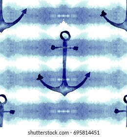 Hand drawn seamless watercolor pattern of marine theme with sea anchors and stripes. Summer childish print. Good for wallpapers, backgrounds, fabrics, cards, covers.