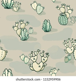 Hand Drawn Seamless Wild West Halftone Cactus Desert Pattern. Arizona high desert cacti pattern perfect for wallpaper, scrapbooking, fabric, textile, etc.