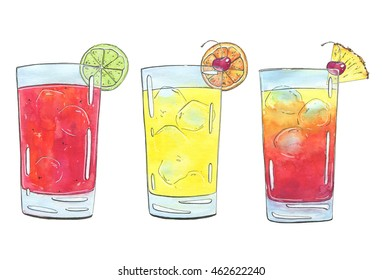hand drawn set of graphic watercolor cocktails Sea Breeze Harvey Wallbanger Planter's Punch on white background