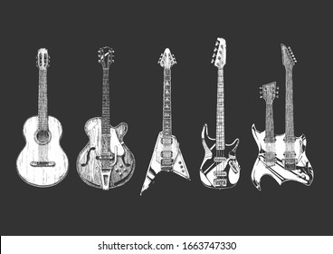 Hand drawn set of guitars. Acoustic (classical), semi-acoustic (archtop),  electric, bass guitar and double neck