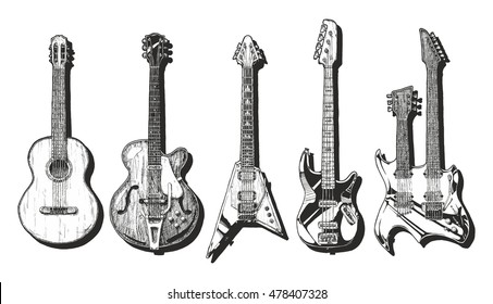 hand drawn set of guitars. Acoustic guitar (classical guitar ), semi-acoustic guitar (archtop guitar),  electric guitar, bass guitar and double neck guitar.