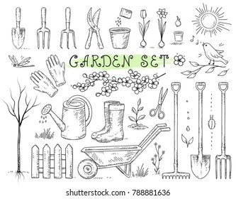 hand drawn set of isolated garden tools on white background