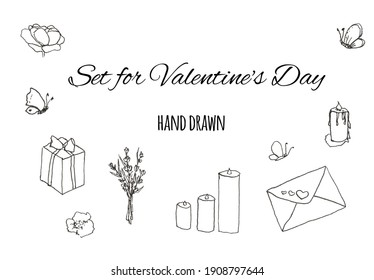 Hand drawn set sketch for Valentine's Day, Wedding, Design, Scrapbook, Romance and Love. A selection of black silhouettes of gifts, letter, candles, flowers, butterflies isolated on white background.