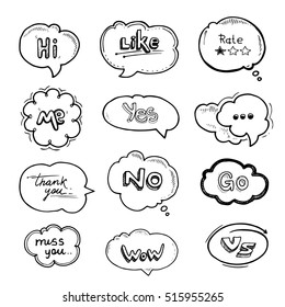 Hand drawn set of speech bubbles with dialog words Hello, Follow, like, Yes, Me, No, Rate, Go, Bye Hi. Pictures isolate on white background