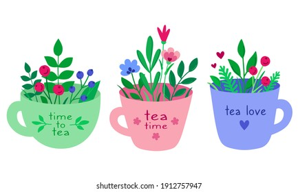Hand drawn set of tea cup with berries, herbs and flowers. Cute tea mug in cartoon flat style isolated on a white background. Teatime. Bouquet of herbs. For greetings, cards, brochures, tea shop, menu