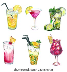 hand drawn set of watercolor alcohol coctails and other drinks. watercolor