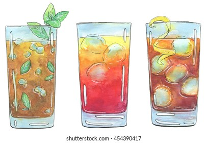 hand drawn set of watercolor cocktails Long Island Iced Tea Sex on the Beach Mai Tai on white background