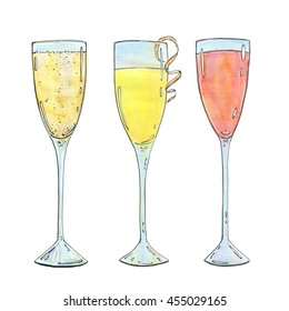 hand drawn set of watercolor cocktails Mimosa Bellini Champagne cocktail French 75 on white background