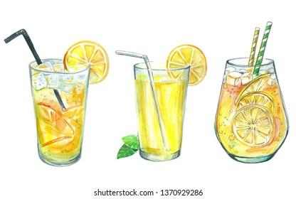 hand drawn set of watercolor coctails lemonade. Summer drinks illustration