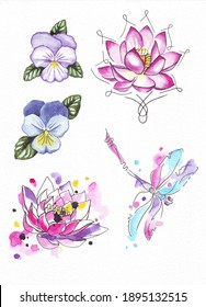 Hand drawn set of watercolor flowers and dragonfly illustrations on white background