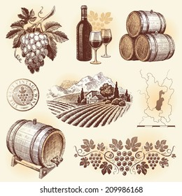 Hand drawn set - wine and winemaking
