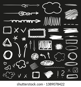 Hand drawn signs on black. Abstract backgrounds with array of lines. Stroke chaotic patterns. Black and white illustration. Sketchy elements for design
