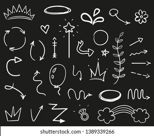 Hand drawn signs on black. Stroke chaotic patterns. Black and white illustration. Sketchy elements for design