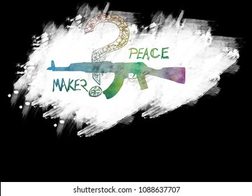 Hand drawn silhouettes of AK-47 pistols. Is a gas-operated, assault rifle, developed in the Soviet Union by Mikhail Kalashnikov. Plus text - PEACEMAKER.