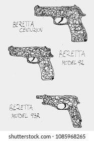 Hand drawn silhouettes of beretta pistols. Beretta is a privately held Italian firearms manufacturing company.