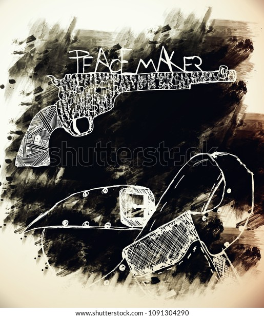 Hand drawn silhouettes of Colt. American West legend six-shooter revolver gun and leather belt with pistol.