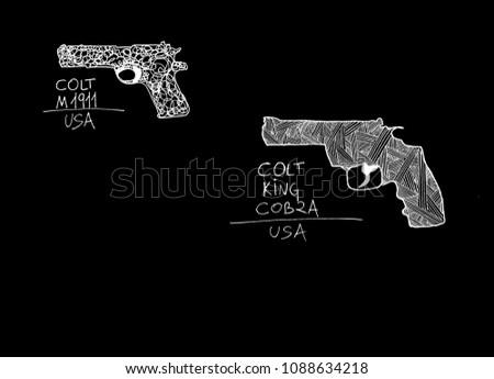 Hand drawn silhouettes of Colt pistols. Colt's is an American firearms manufacturer, founded in 1855 by Samuel Colt.