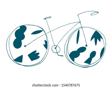 Hand drawn simple continuous one line vector bicycle illustration.