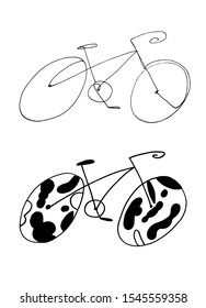 Hand drawn simple continuous one line bicycle illustration. Set of bicycles free hand drawings.