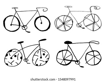 Hand drawn simple continuous one line bicycle illustration. Funny cartoon bikes. Kids drawing.