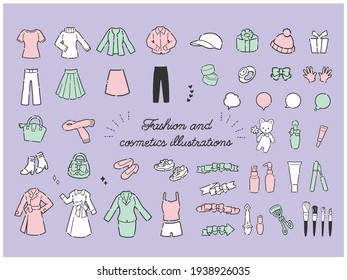 Hand drawn simple and cute women's fashion item illustration material