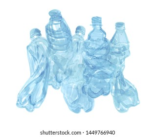 Hand drawn simple illustration of five blue plastic bottles  together on white background. Recyclable trash hand drawn illustration