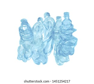 Hand drawn simple illustration of five blue plastic bottles on white background. Non-recyclable trash hand drawn illustration. Art for your design