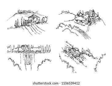 Hand drawn skech of rural landscape. Fullsize raster atrwork.