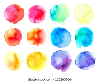 Hand drawn sketch abstract watercolor splashes set. Isolated colorful blots on white background