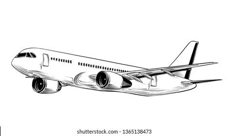 Hand drawn sketch of airplane in black isolated on white background. Detailed vintage style drawing, for posters, decoration and print - Illustration