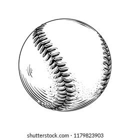 Hand drawn sketch of baseball ball in black isolated on white background. Detailed vintage style drawing. Illustration for posters and print