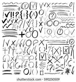 Hand drawn sketch black marker, brushed signs, arrows, lines, shapes, handwritten, design elements set isolated on white background