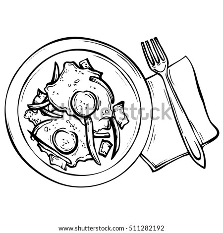 Hand Drawn Sketch Fried Eggs On Stock Illustration 511282192