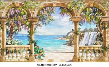 Ручной нарисованный эскиз с пейзажем. Акварель нарисованный эскиз с морским пейзажем. Акварель рисунок с морским пейзажем. Вид с террасы на море с цветущими деревьями. Вид с арки на море.