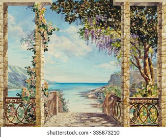 Hand drawn sketch with landscape. Watercolor hand drawn sketch with seascape. View from the terrace on the sea with flowering trees. View from arch on the sea. Descent to the sea