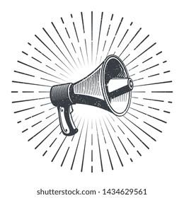 Hand drawn sketch megaphone and starburst. Vintage poster with megaphone. illustration
