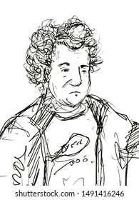 Hand drawn sketch portrait of sad man with curly hair Isolated On white