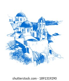 Hand drawn sketch of Santorini island, Greece. Isolated on white background.  Sunny greek streets, white houses. Travel sketch. Hand drawn illustration.