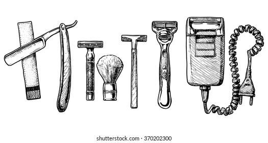 hand drawn sketch of shaving accessories set in ink hand drawn style.  Straight razor, double-edge Safety razor and shaving brush, disposable razor, modern razor, Electric razor.