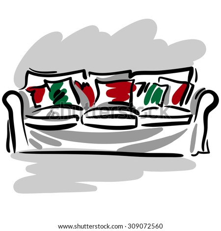 Strange Hand Drawn Sketch Soft White Couch Stock Illustration Caraccident5 Cool Chair Designs And Ideas Caraccident5Info